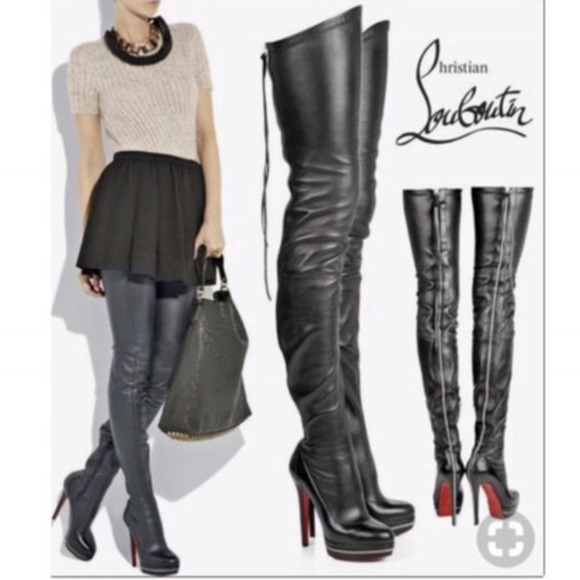 41a5f100917 Christian Louboutin ThighHigh Black Leather Boots